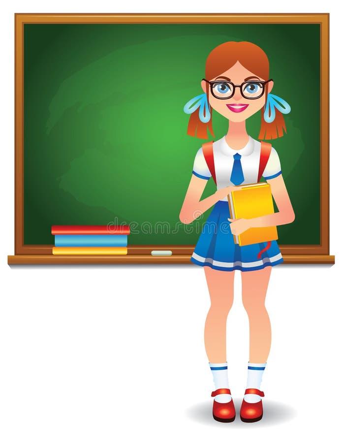 Muchacha alegre que se coloca delante de consejo escolar verde con los libros stock de ilustración