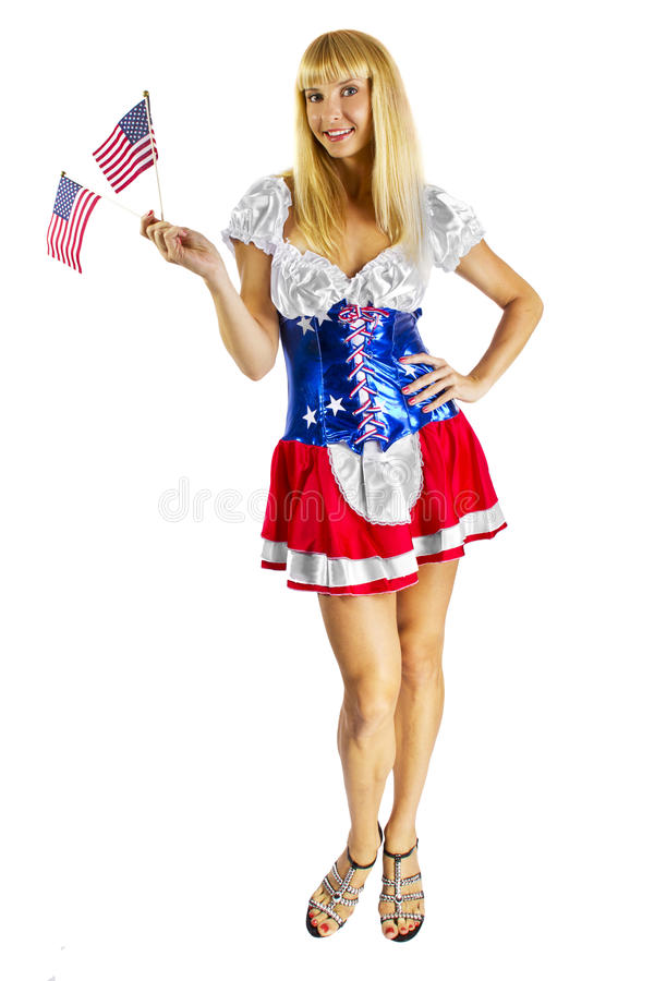 Muchacha americana patriótica con dos indicadores foto de archivo libre de regalías