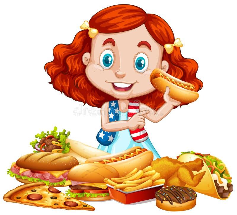 Muchacha americana y comida americana stock de ilustración