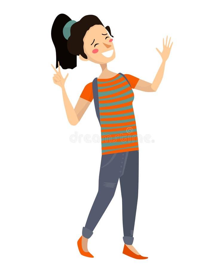 Muchacha asiática alegre aislada que sonríe y que ríe ejemplo japonés del adolescente del vector plano Hembra linda con la cola d libre illustration