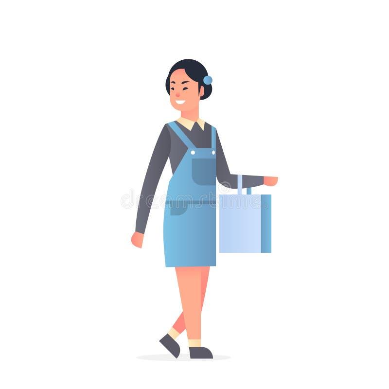 Muchacha asiática joven que lleva a la mujer atractiva feliz de la ropa casual que sostiene el bolso de compras historieta femen libre illustration