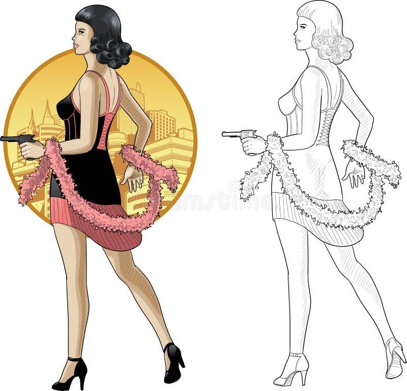 Muchacha asiática retra en negro con un arma stock de ilustración