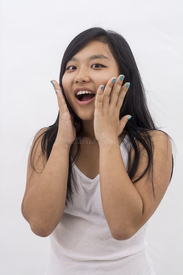 Muchacha asiática sorprendida fotos de archivo
