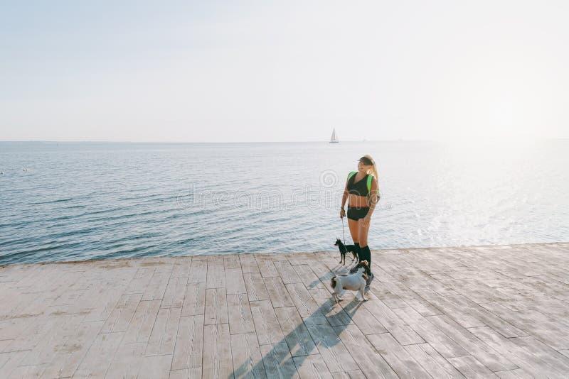 Muchacha atlética hermosa joven con el pelo rubio largo en ropa negra y dos de sus perros que hacen deportes en la salida del sol fotos de archivo