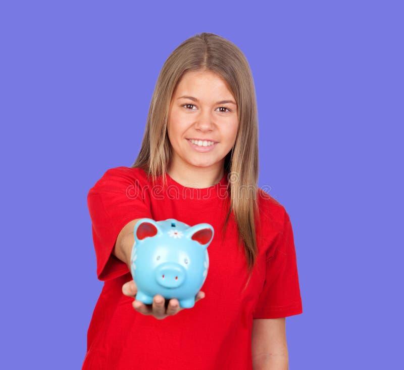 Muchacha atractiva con la caja de dinero fotografía de archivo