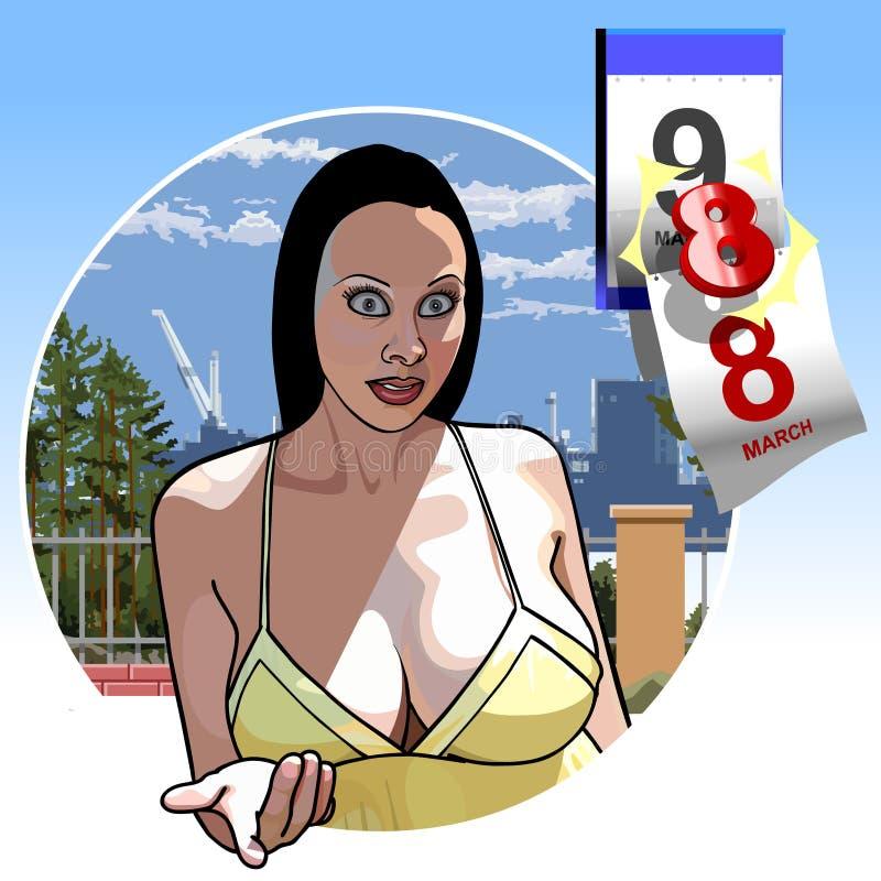 Muchacha atractiva con los pechos grandes octavo de marzo libre illustration
