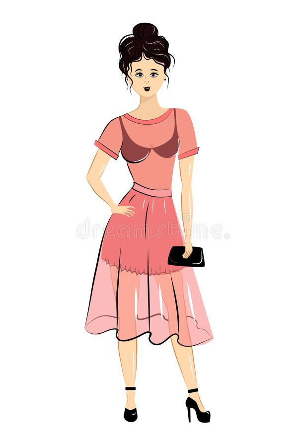Muchacha atractiva de la moda en vestido rosado elegante libre illustration