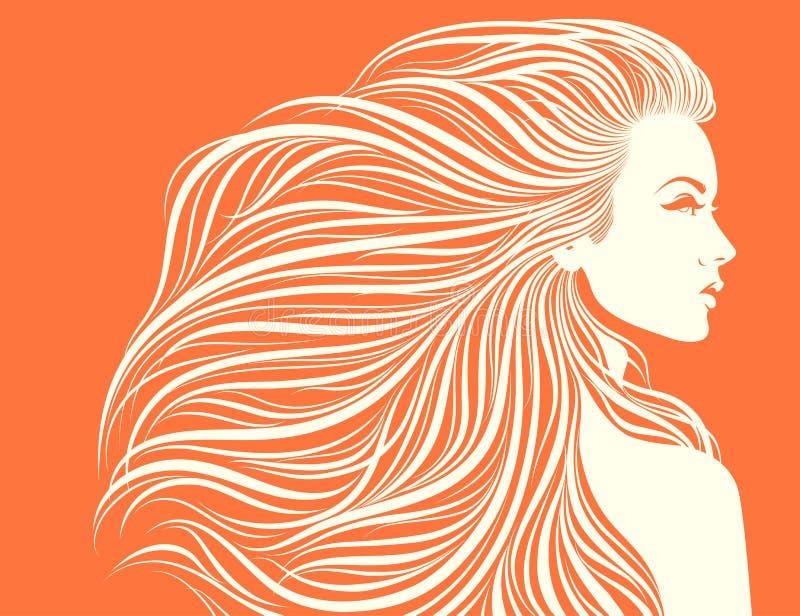 Muchacha atractiva de pelo largo. ilustración del vector