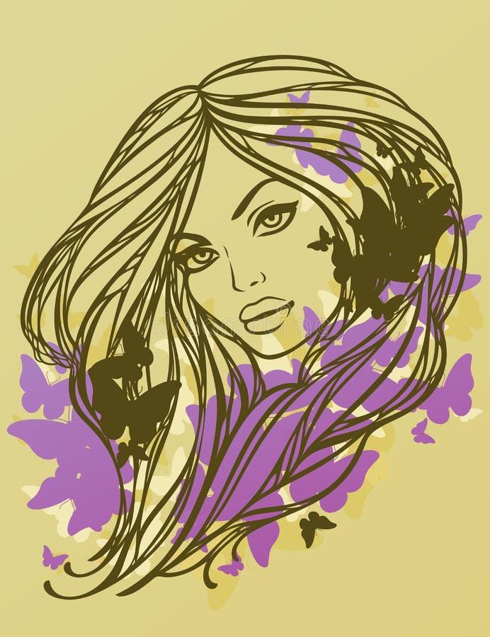 Muchacha atractiva de pelo largo con las mariposas. libre illustration
