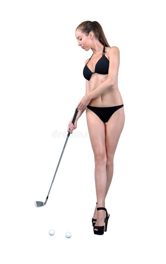 Muchacha atractiva en bikini negro imagenes de archivo