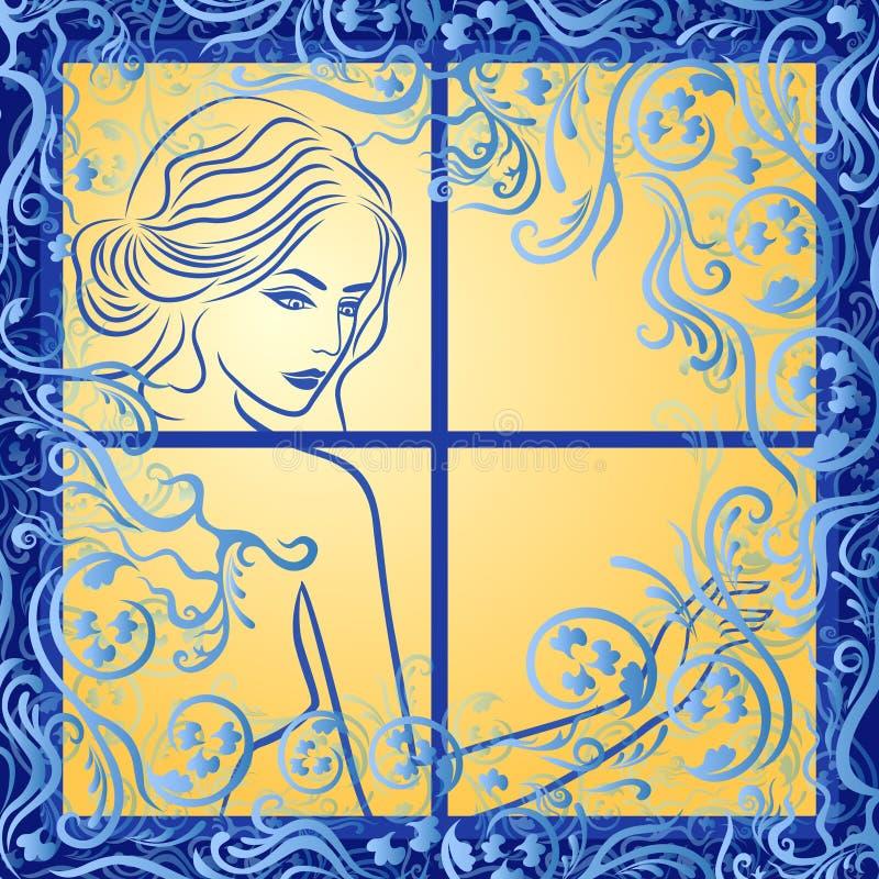 Muchacha atractiva en ventana helada stock de ilustración