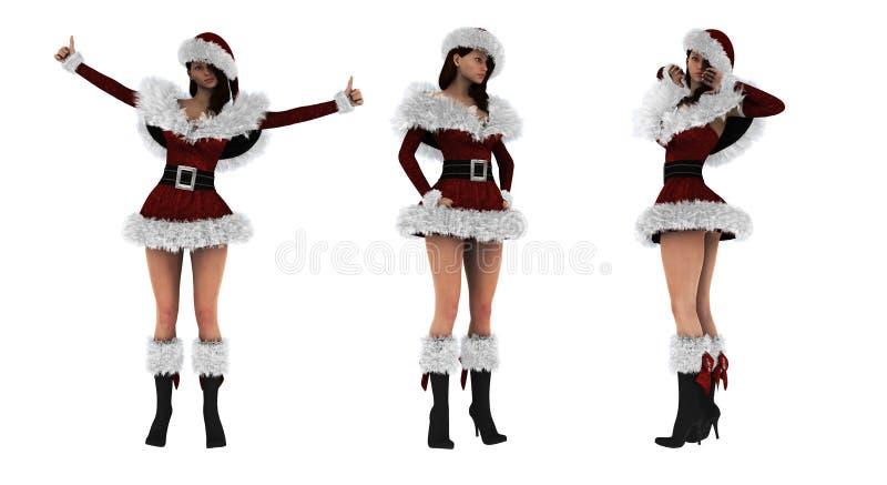 Muchacha atractiva hermosa 3D que lleva la ropa de Papá Noel fotografía de archivo libre de regalías