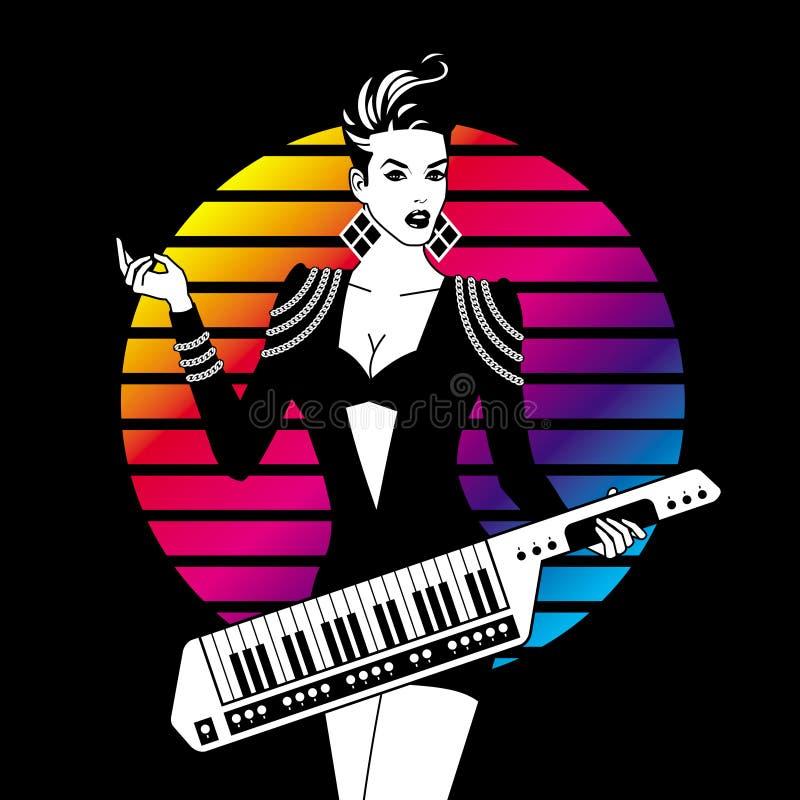 Muchacha atractiva con Keytar stock de ilustración