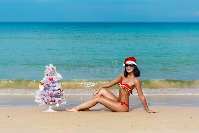Muchacha atractiva Papá Noel en bikini en un abeto de la playa fotos de archivo libres de regalías