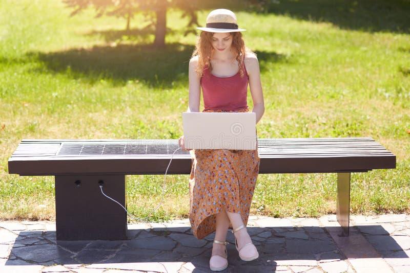 Muchacha attrective delgada que busca la información en la red, ordenador portátil que encarga de la ayuda del panel solar constr imagen de archivo libre de regalías