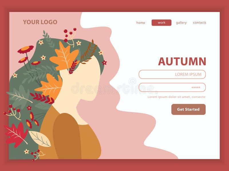 Muchacha Autumn Nature Landing Page stock de ilustración