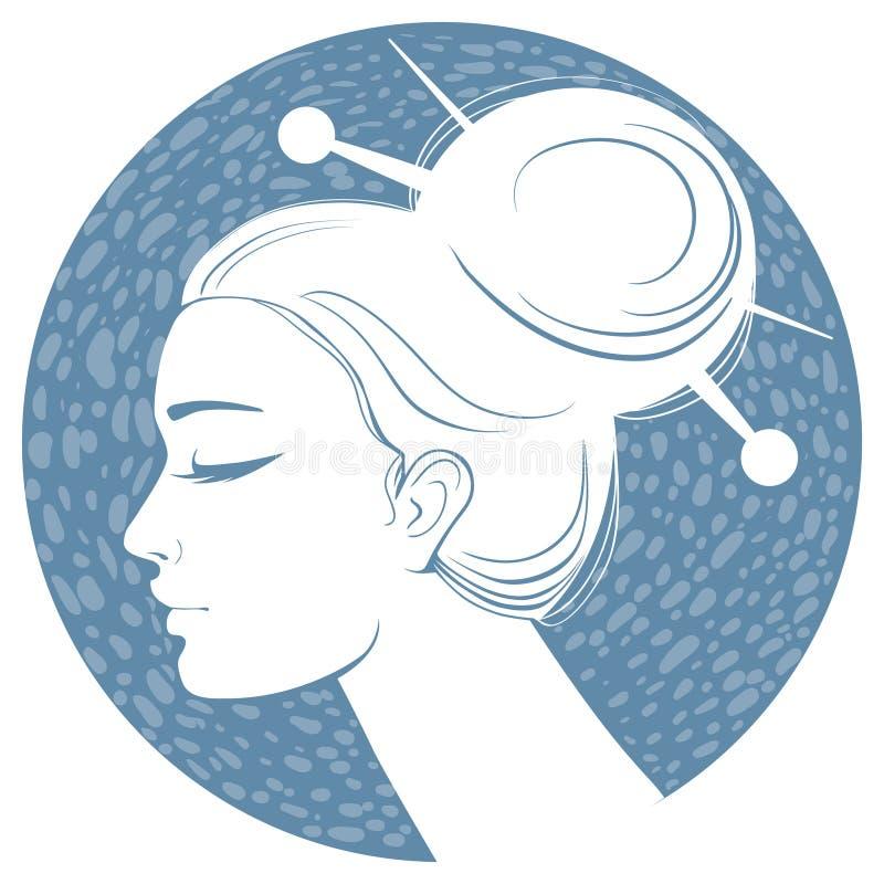 Muchacha azul de la silueta ilustración del vector
