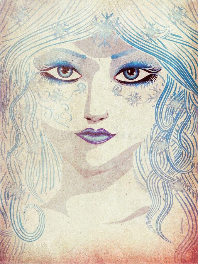 Muchacha azul del invierno stock de ilustración