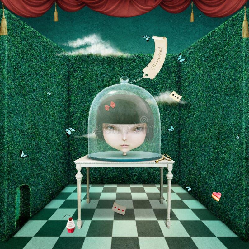 Muchacha bajo cubierta de cristal libre illustration