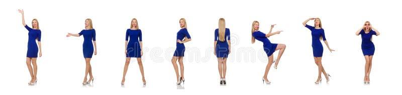 Muchacha bastante cauc?sica en el vestido azul aislado en blanco imagenes de archivo
