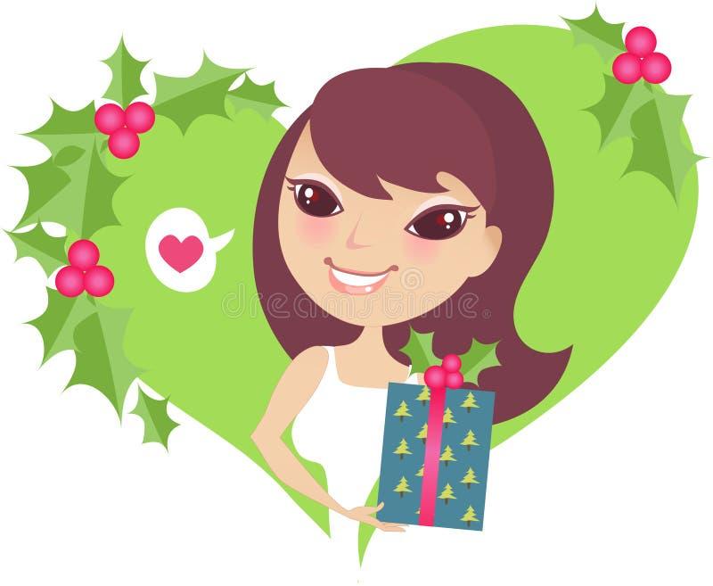 Muchacha bastante linda en la Navidad libre illustration