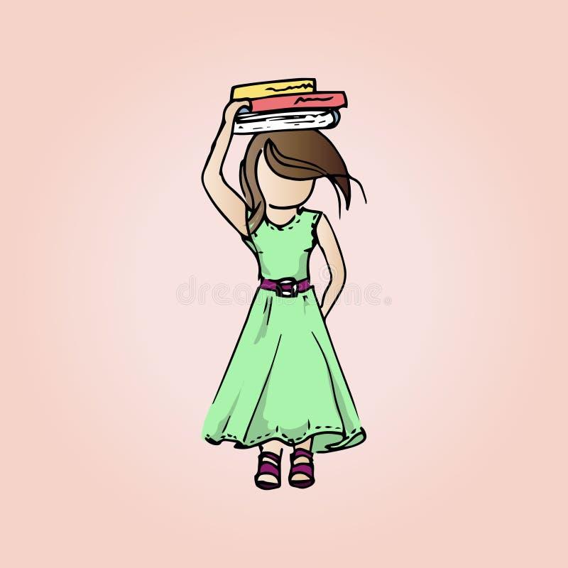 Muchacha bastante modesta del ejemplo con los libros Muchacha del estudiante el vacaciones ilustración del vector