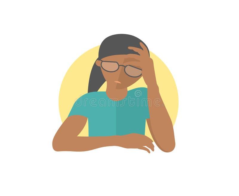 Muchacha bastante negra en los vidrios presionados, triste, débil Icono plano del diseño mujer con la emoción débil de la depresi ilustración del vector