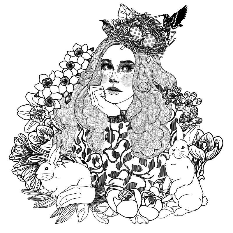 muchacha blanco y negro de pascua de la primavera libre illustration