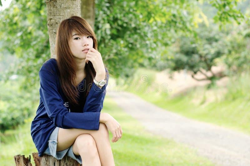 Muchacha bonita asiática de la cara fotografía de archivo libre de regalías