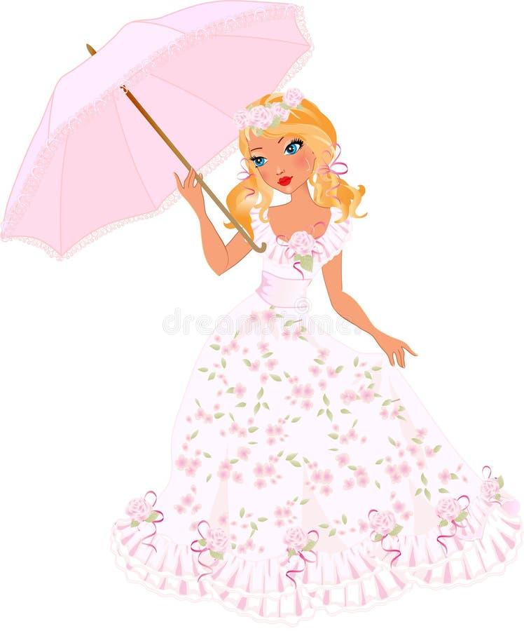 Muchacha bonita con el paraguas stock de ilustración