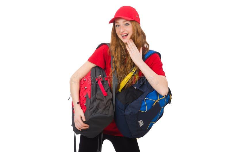 Muchacha bonita con la mochila aislada en blanco imagen de archivo libre de regalías