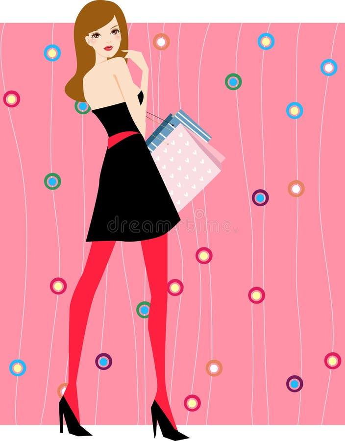 Muchacha bonita con los bolsos de compras libre illustration