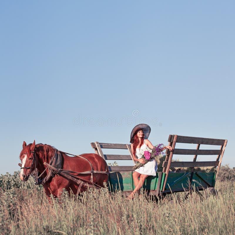 Muchacha bonita con los wildflowers en el carro del caballo en día de verano imágenes de archivo libres de regalías