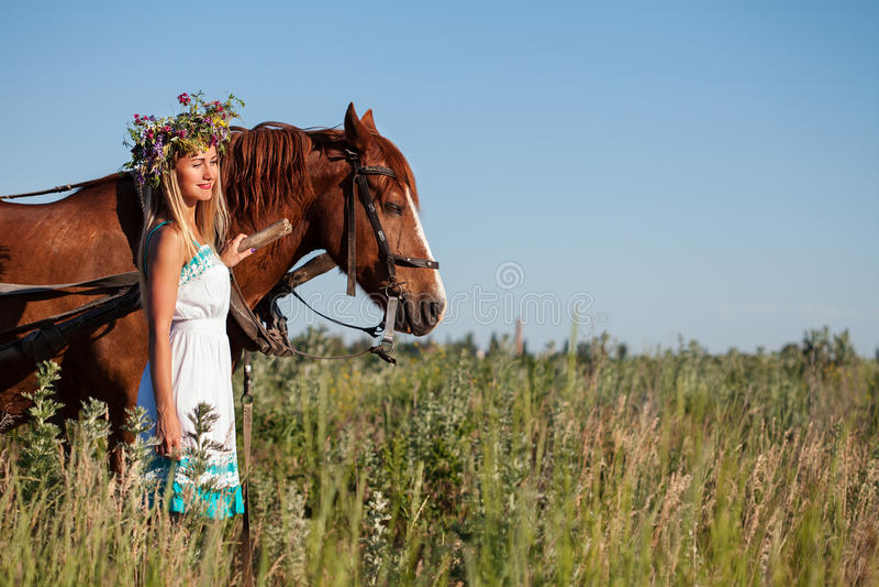 Muchacha bonita con los wildflowers en el carro del caballo en día de verano fotos de archivo