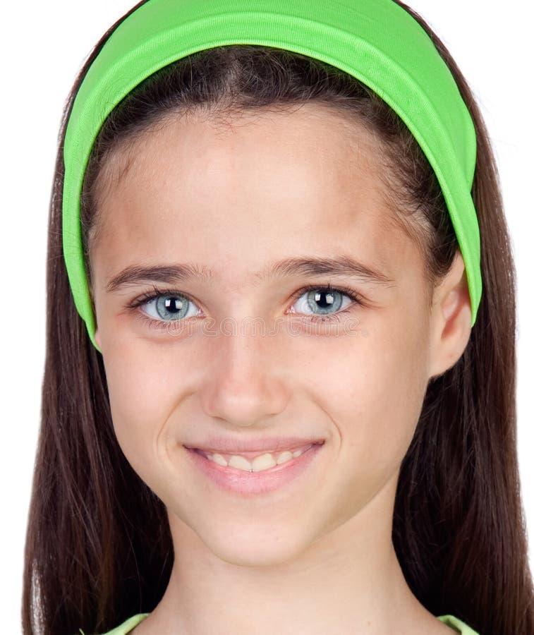 Muchacha bonita con sorprender ojos azules foto de archivo libre de regalías