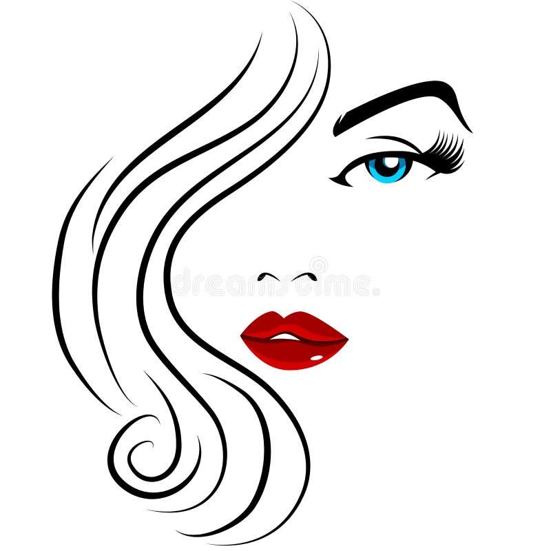 Muchacha bonita de la cara ilustración del vector