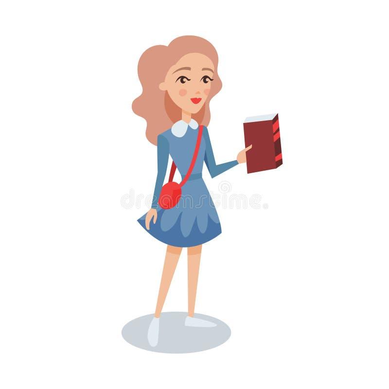 Muchacha bonita del estudiante en un vestido azul que coloca y que sostiene el libro en su ejemplo del vector del personaje de di ilustración del vector