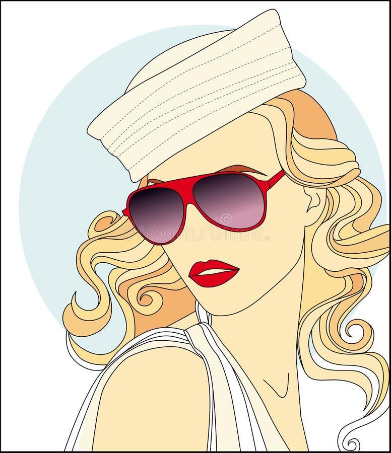 muchacha bonita en gafas de sol libre illustration