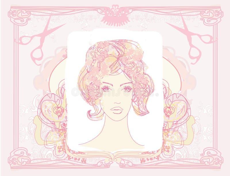 muchacha bonita en un salón del peluquero ilustración del vector