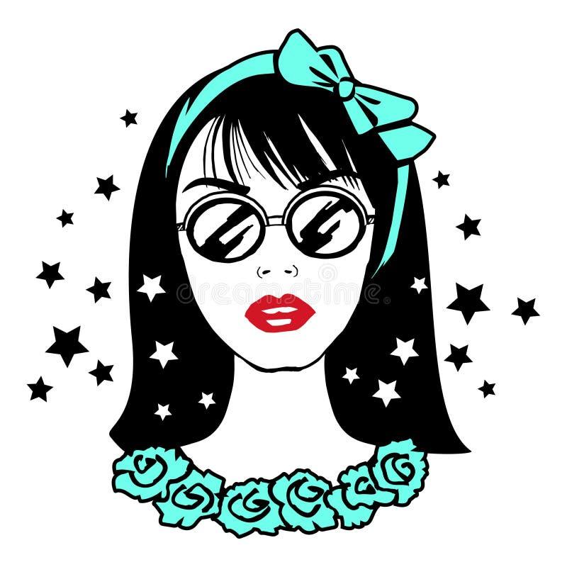 Muchacha bonita joven del adolescente en gafas de sol con el arco verde en la cabeza ilustración del vector