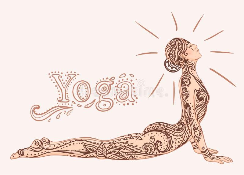 Muchacha bonita joven que hace yoga Ejemplo decorativo del vintage libre illustration