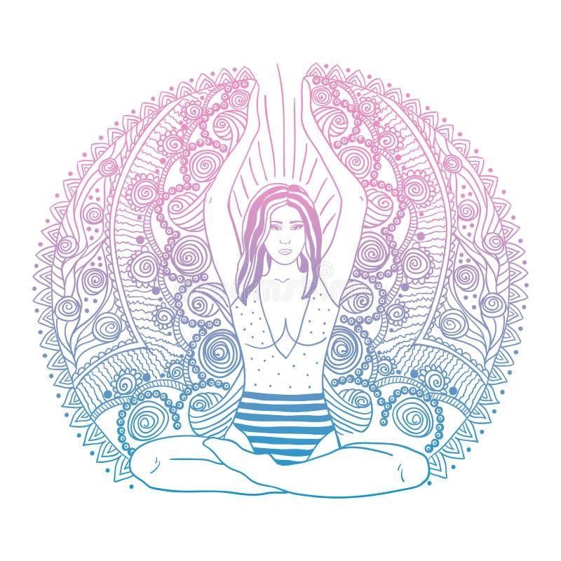 Muchacha bonita joven que hace yoga Ejemplo decorativo del vintage Fondo dibujado mano Estilo decorativo adornado de Mehenidi Yog libre illustration