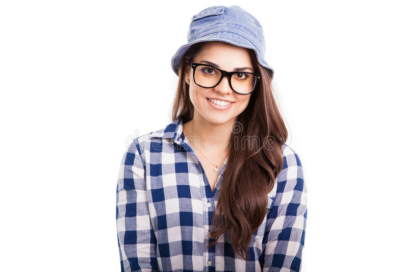 Muchacha bonita que desgasta un sombrero imágenes de archivo libres de regalías