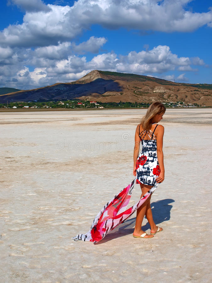 Muchacha bonita que se coloca en un lago de sal fotos de archivo