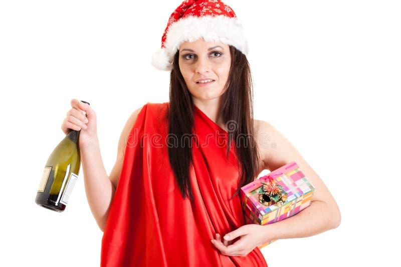Muchacha borracha de Santa fotografía de archivo libre de regalías
