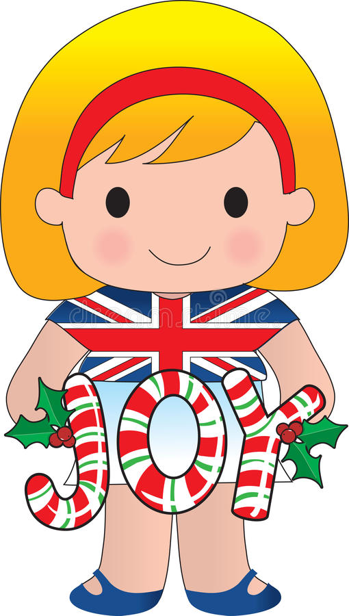 Muchacha británica/inglesa de la Navidad ilustración del vector