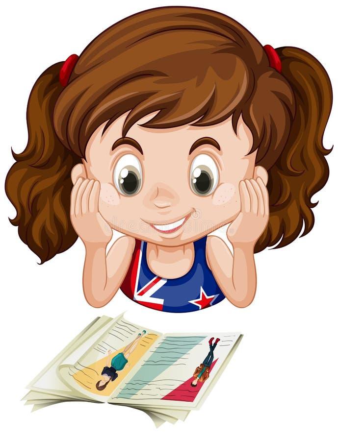 Muchacha británica que lee un libro stock de ilustración