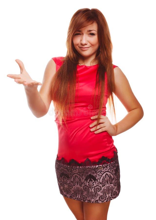 Muchacha cabelluda descontenta enojada de la mujer joven en rojo fotografía de archivo
