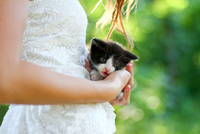 Muchacha caucásica bastante joven con el gatito lindo foto de archivo