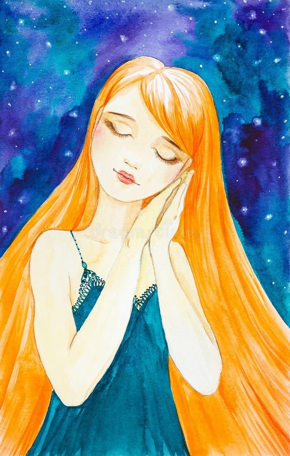 Muchacha caucásica con el pelo rojo largo en el fondo de un cielo estrellado hermoso Sueños que se colocan con las manos dobladas libre illustration